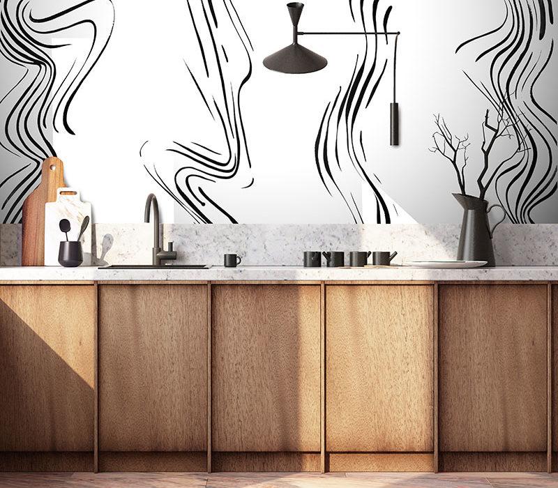 papel pintada de la cocina blanco y negro